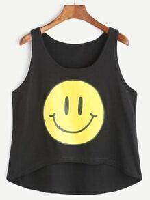 Black Emoji Print Dip Hem Tank Top