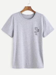 Heather Grey Cactaceae Print T-shirt