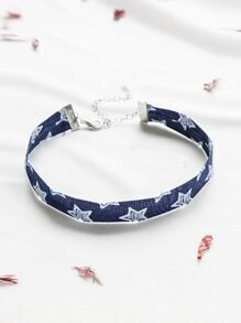 Blue Star Pattern Denim Choker