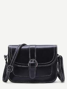 Black Buckle Detail PU Shoulder Bag