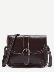 Dark Brown Buckle Detail PU Shoulder Bag