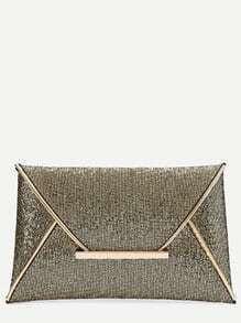 Gold Glitter Design Envelope Clutch Bag