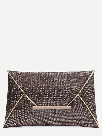 Champagne Glitter Design Envelope Clutch Bag