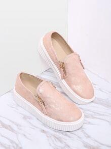 Pink Zipper Side Rubber Sole Flats