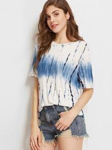 Navy Tie Dye Print Short Sleeve T-shirt