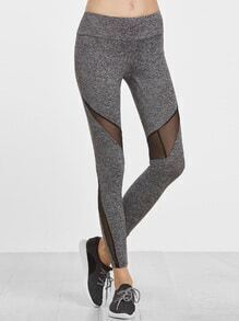 Grey Marled Knit Wide Waistband Mesh Insert Leggings