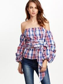 Multicolor Plaid Billow Sleeve Off The Shoulder Wrap Top