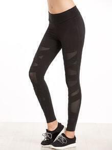 Black Crisscross Mesh Panel Leggings