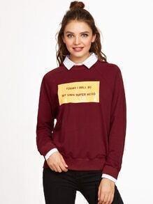 Burgundy Letter Print Contrast Shirt Collar Raglan Sleeve Sweatshirt