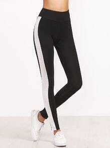 Black Contrast Panel Wide Waistband Leggings