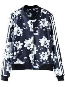 Navy Floral Print Striped Sleeve Jacket