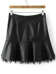 Black Lace Hem Zipper Back PU Skirt