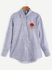 Blue Striped Rose Embroidered High Low Shirt