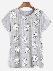 Heather Grey Cats Print T-shirt