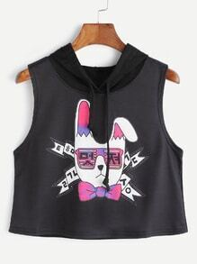 Black Hooded Cartoon Print Crop Tank Top