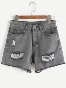 Grey Ripped Raw Hem Denim Shorts