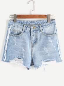 Pale Blue Ripped Bleached Raw Hem Denim Shorts