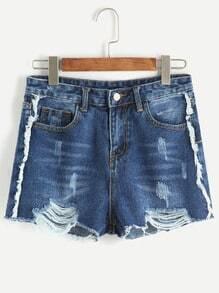 Dark Blue Ripped Bleached Raw Hem Denim Shorts