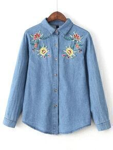 Blue Flower Embroidery Denim Blouse