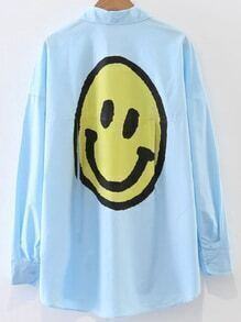 Blue Smile Face Print Blouse With Pocket