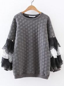 Grey Polka Dot Contrast Lace Layered Sweatshirt