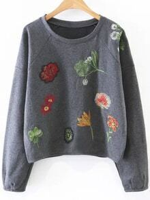 Grey Flower Embroidery Raglan Sleeve Sweatshirt