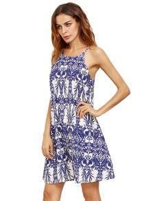Royal Blue Print In White Spaghetti Strap Shift Dress