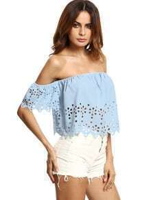 Blue Off The Shoulder Hollow Crop Blouse