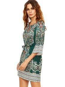 Green Tribal Print Self Tie Dress