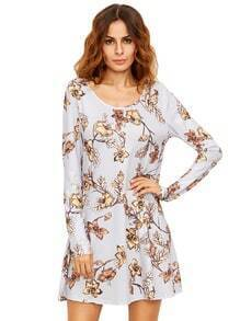 Crew Neck Floral Shift Dress