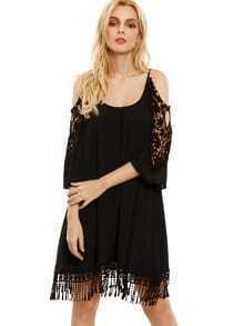 Black Open Shoulder Crochet Lace Sleeve Tassel Dress