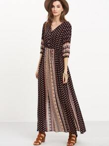 Black Half Sleeve Vintage Print Split Maxi Dress