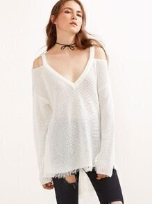 White Cold Shoulder Waffle Knit High Low Sweater