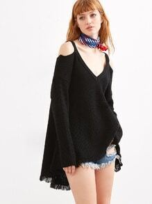 Black Cold Shoulder Waffle Knit High Low Sweater