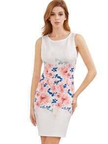 Vestido blanco sin mangas de la impresión de la vendimia