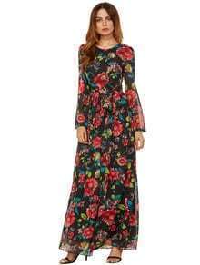 Self-Tie Rose Print Long Sleeve Chiffon Dress - Black