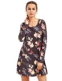Multicolor Floral V Neck Short Sleeve Dress