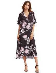 V Neck Florals Wrap Dress