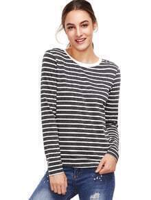 Grey Long Sleeve Striped T-Shirt