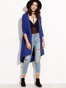 Suéter largo azul de la manga larga de los botones