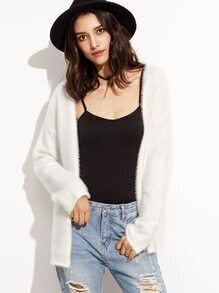 White Long Sleeve Sweater Cardigan