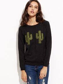 Schwarz Patch Langarm Pullover