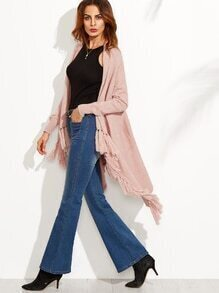 Pink Tassel Hem Long Sleeve Asymmetrical Sweater