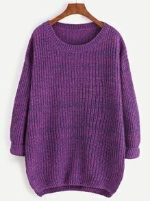 Purple Marled Knit Cocoon Sweater