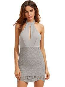 Grey Halter With Lace Backless Dress