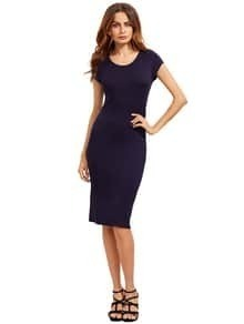Navy Crew Neck Slim Sheath Dress