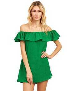 Flounce Off-The-Shoulder Dress - Green