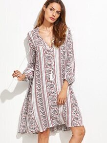 Multicolor Paisley Print V Neck Fringe Detail Dress