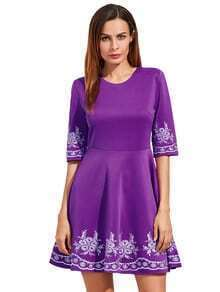 Purple Embroidered Half Sleeve Flare Dress