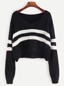 Black Striped Chevron Knit Crop Sweater